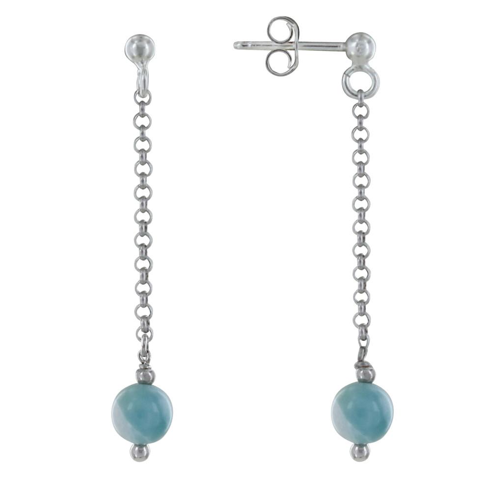 boucles d 39 oreilles argent chainette pendante perle argent et de larimar. Black Bedroom Furniture Sets. Home Design Ideas