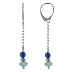 Boucles d'Oreilles Argent Dormeuse Chainette Perle de Cyanite et Anneau de Larimar