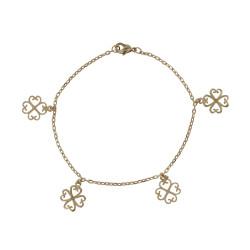Bracelet Plaqué Or Quatre Trèfles de Coeur