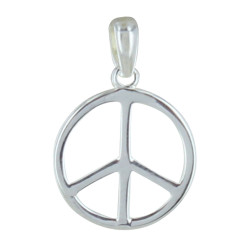 Pendentif Argent Moyen Peace and Love
