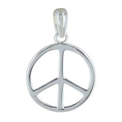Pendentif Argent Rhodié Moyen Peace and Love