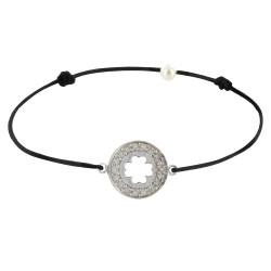 Bracelet Lien Argent Médaille Porte Chance et Strass - Classics