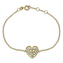 Bracelet Plaqué Or Coeur Arabesque Ajouré