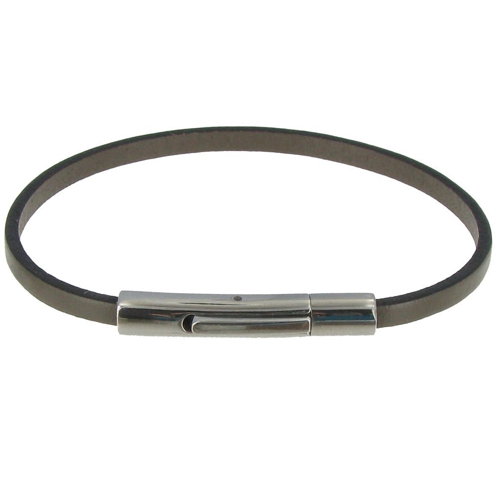 bracelet femme cuir simple fermoir acier inoxydable classics. Black Bedroom Furniture Sets. Home Design Ideas