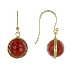 Boucles d'Oreilles Crochet Argent Doré Sphère d'Agate Rouge