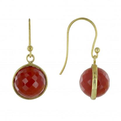 PHOTO A VE Boucles d'Oreilles Crochet Argent Doré Sphère d'Agate Rouge