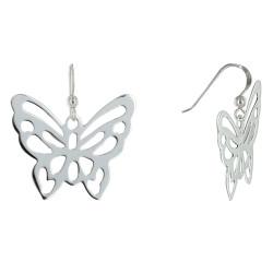 Boucles d'Oreilles Crochet Papillon Ajouré en Argent