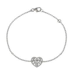 Bracelet Argent Coeur Arabesque et ses Strass Cristal