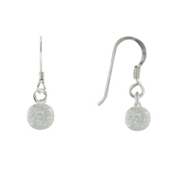Boucles d'Oreilles Argent Billes Diamant