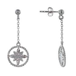 Boucles d'Oreilles Argent Rodhié Cercle de Billes et Fleur de Strass Cristal