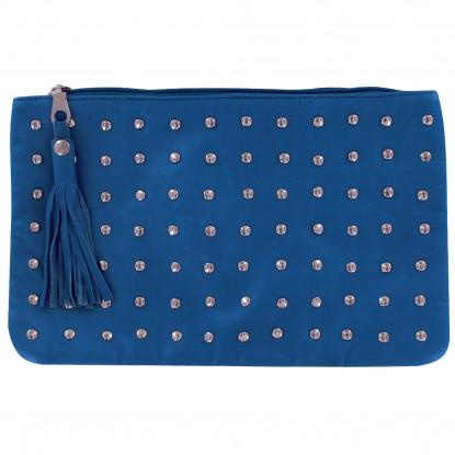 Pochette Sac Cuir Clouté Couleur Bleu Mer