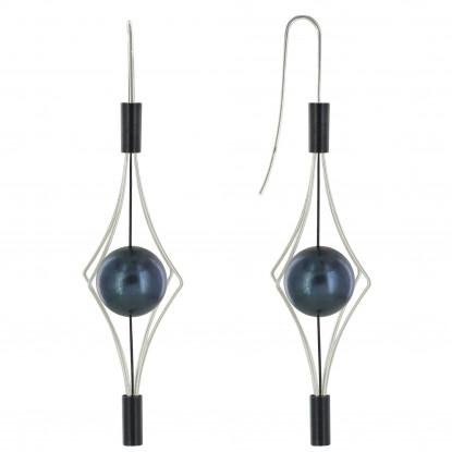 Boucles d'Oreilles Argent et Argent Oxydé Lanterne et Perle Noire