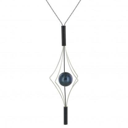 Collier Argent et Argent Oxydé Lanterne et Perle Noire