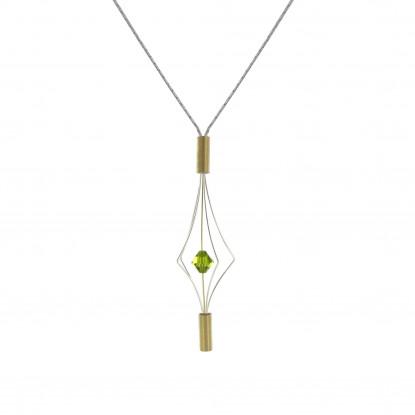 Collier Argent et Plaqué Or Lanterne et Swarovski - Petit Modèle