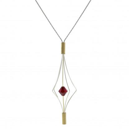 Collier Argent et Plaqué Or Lanterne et Swarovski - Grand Modèle