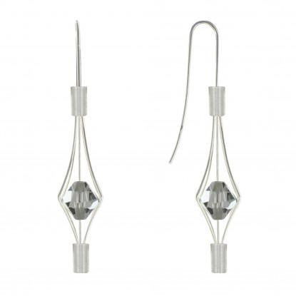Boucles d'Oreilles Argent Lanterne et Swarovski - Petit Modèle