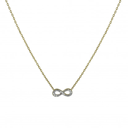 PHOTO TRA Collier Plaqué Or Infini et Strass