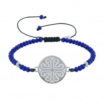 Bracelet Lien Médaille Grecque Métal Argenté Emaillée Blanche et Perles Cristal