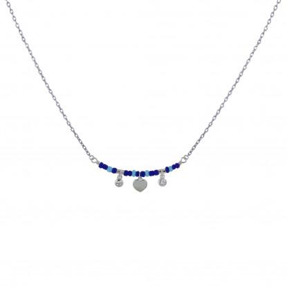 Collier Argent Rhodié Petit Coeur Deux Strass et Perles Bleus