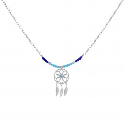 Collier Argent Rhodié Attrape Rêve et Perles Bleus