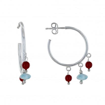 Boucles d'Oreilles Argent Créoles Breloques Perle de Bambou Rouge et de Larimar