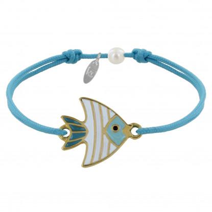 Bracelet Lien Médaille en Laiton Poisson émaillée Blanche et Turquoise
