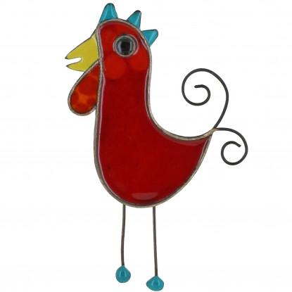 Broche Coq émaillée Rouge