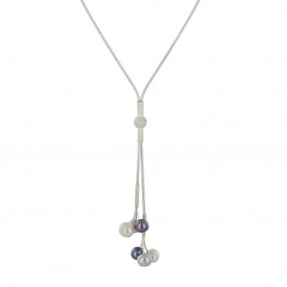 Grande cravate en argent et 3 perles blanche, noire, grise