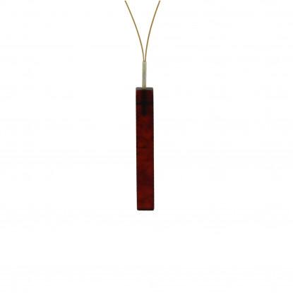 Collier câble doré, rectangle d'ambre foncé