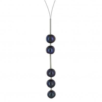 Collier câble d'acier avec 2 perles - 3 perles gris foncées