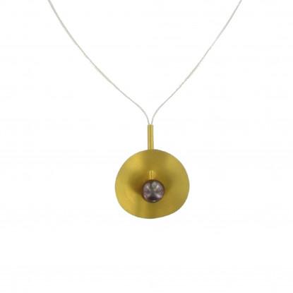 Collier Vermeil Nénuphars Perle Cuivrée 8-9 mm