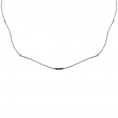 PHOTO A VE Collier Ras de Cou Argent 5 Diamants Noirs