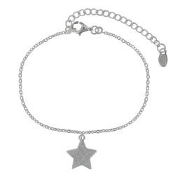 Bracelet Argent Breloque Etoile Argent Brossé