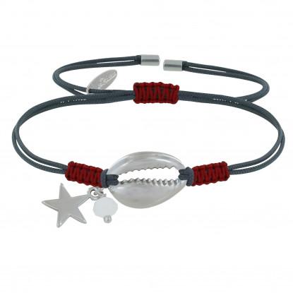 Bracelet Lien Bicolore Coquillage et Etoile Argent Perles Facettée Blanche