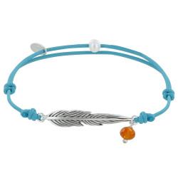 Bracelet Lien Plume Laiton Argenté et Perle Facettée