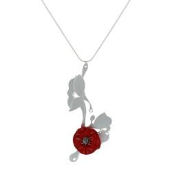 Collier Argent Bouquet de Fleurs Coquelicot Céramique Rouge