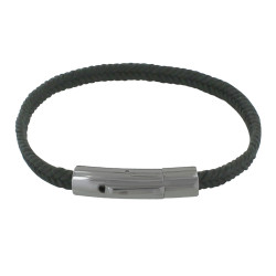 Bracelet Homme Tresse en Coton Gris Anthracite