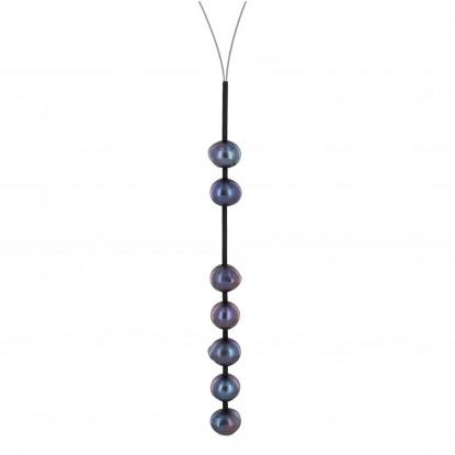 Collier Câble Acier Perles de Culture 2 + 5 Perles 9mm