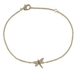 Bracelet Plaqué Or Libellule et Strass