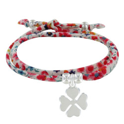 Bracelet Double Tour Lien Liberty et Trèfle Argent - Colors