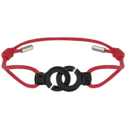 PHOTO A VE Bracelet Ruthénium Menottes Lien Rouge