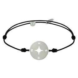 Bracelet Lien Médaille Argent Ronde Rose des Vents