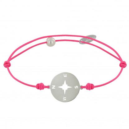 Bracelet Lien Fluo Médaille Ronde Rose des Vents Laiton Argenté