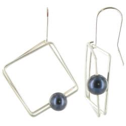 Boucles d'oreilles en Argent Carré et sa Perle - Classics