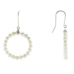 Boucles d'Oreilles Argent Anneaux de Perles de Culture - Classics