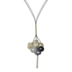 Collier Argent et Grappe de Perles
