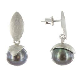 Boucles d'Oreilles Argent Rhodié Feuilles Perle de Culture - Classics