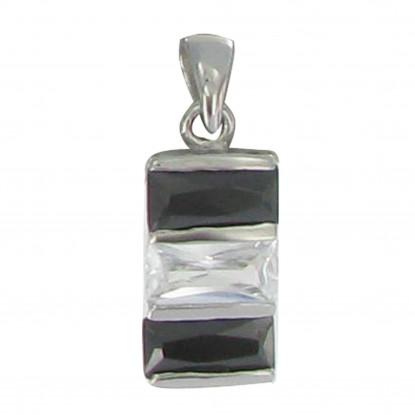 PHOTO Pendentif Argent Zirconium Noir Diamant
