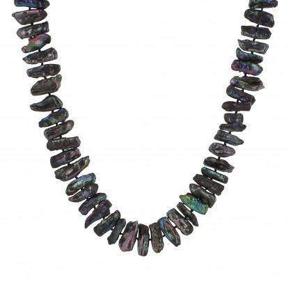 PHOTO Collier de perles de culture gris noir rectangle.