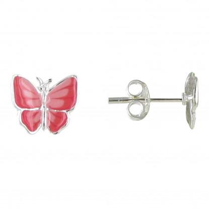 Boucles d'Oreilles Argent Petit Papillon des Iles émaillé - Classics